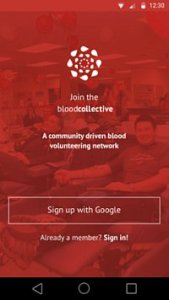 The home screen of Blood Collective app