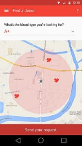 The map feature shows the requester available blood donors in the vicinity