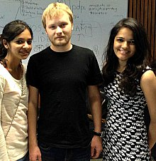 Team 2GB students Monica and Lavanya with Mentor Artem Dementyev